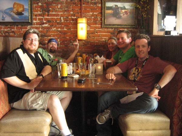 The Mego Museum crew having a few beers