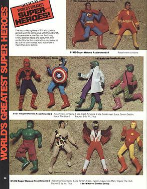 1975 Mego Catalog page with Hulk debut