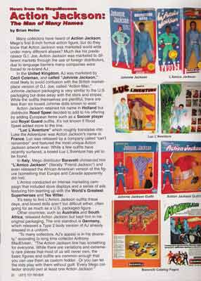 Mego Action Jackson is featured in this months lees