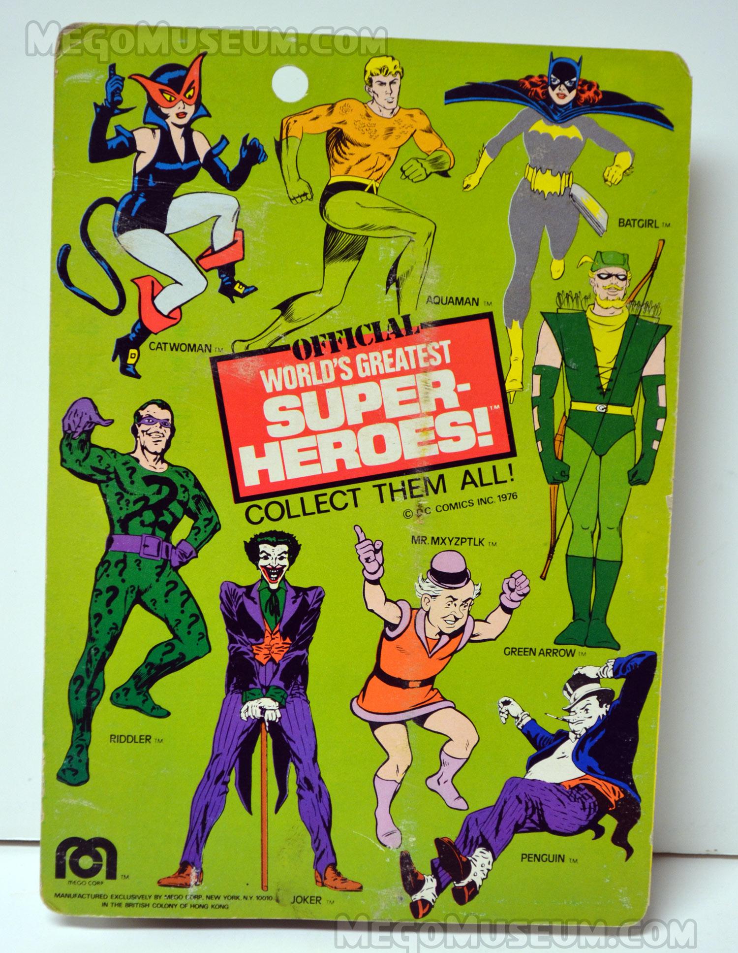 Card Back for 1976 copyrighted US carded Mego Joker action figure
