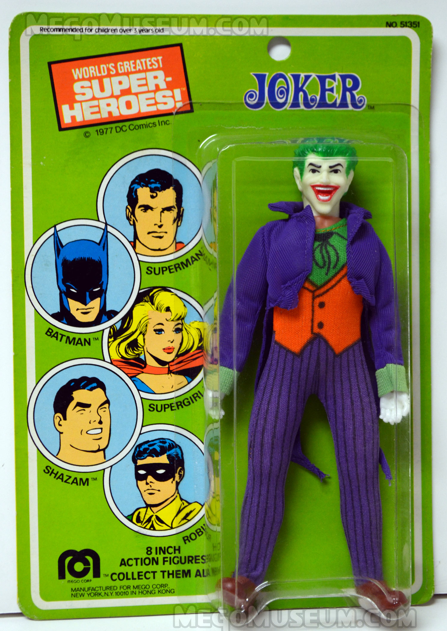 Card for 1977 copyrighted US carded Mego Joker action figure