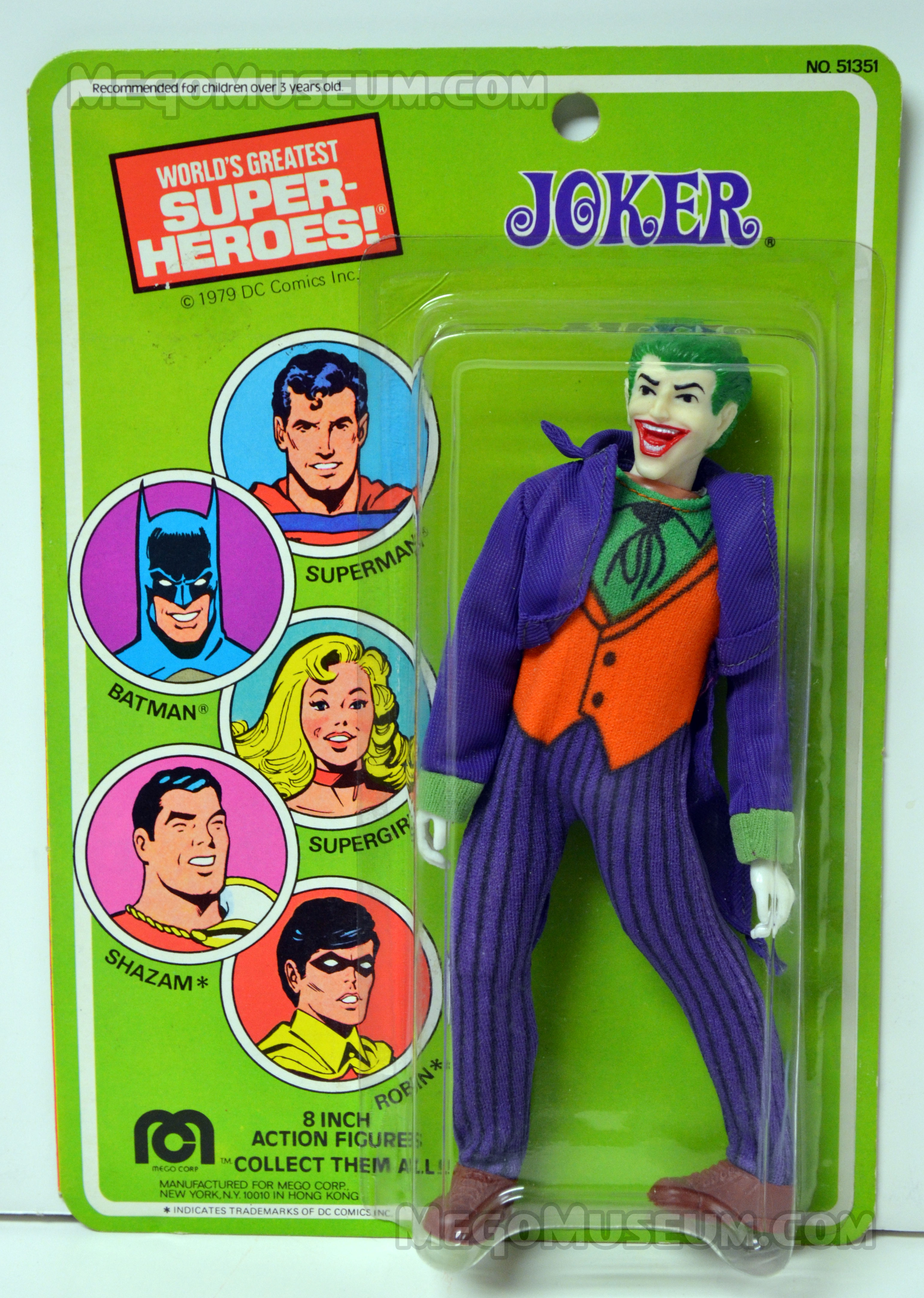 Card for 1979 copyrighted US carded Mego Joker action figure