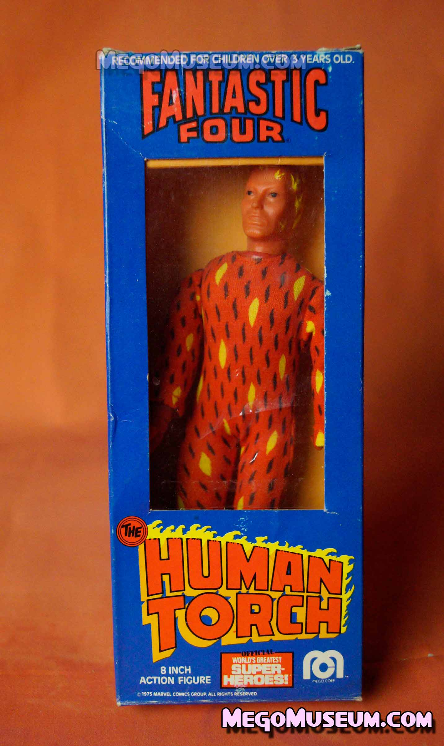 Front of the Mego Human Torch WIndow Box