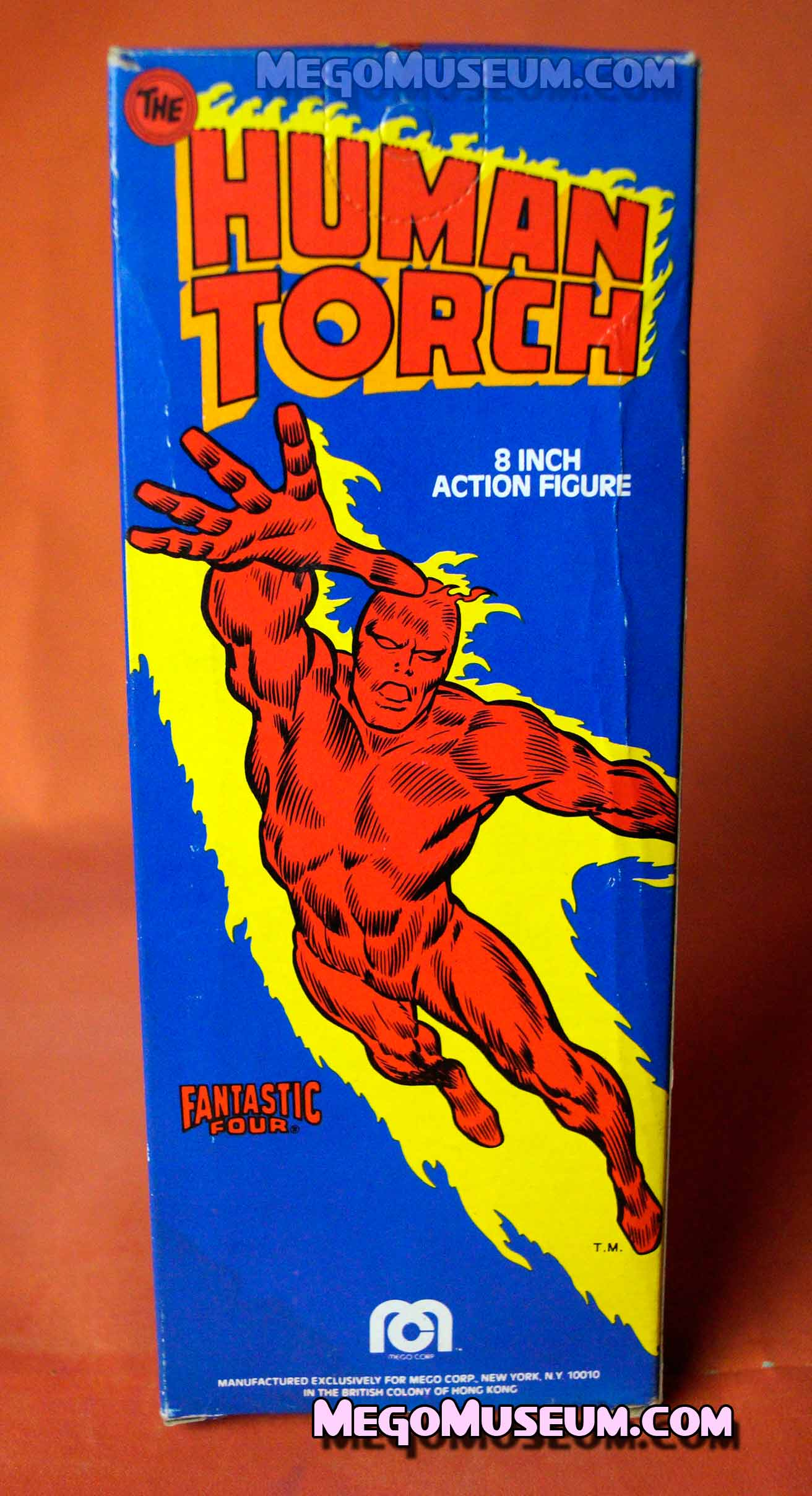 Back of the Mego Human Torch WIndow Box