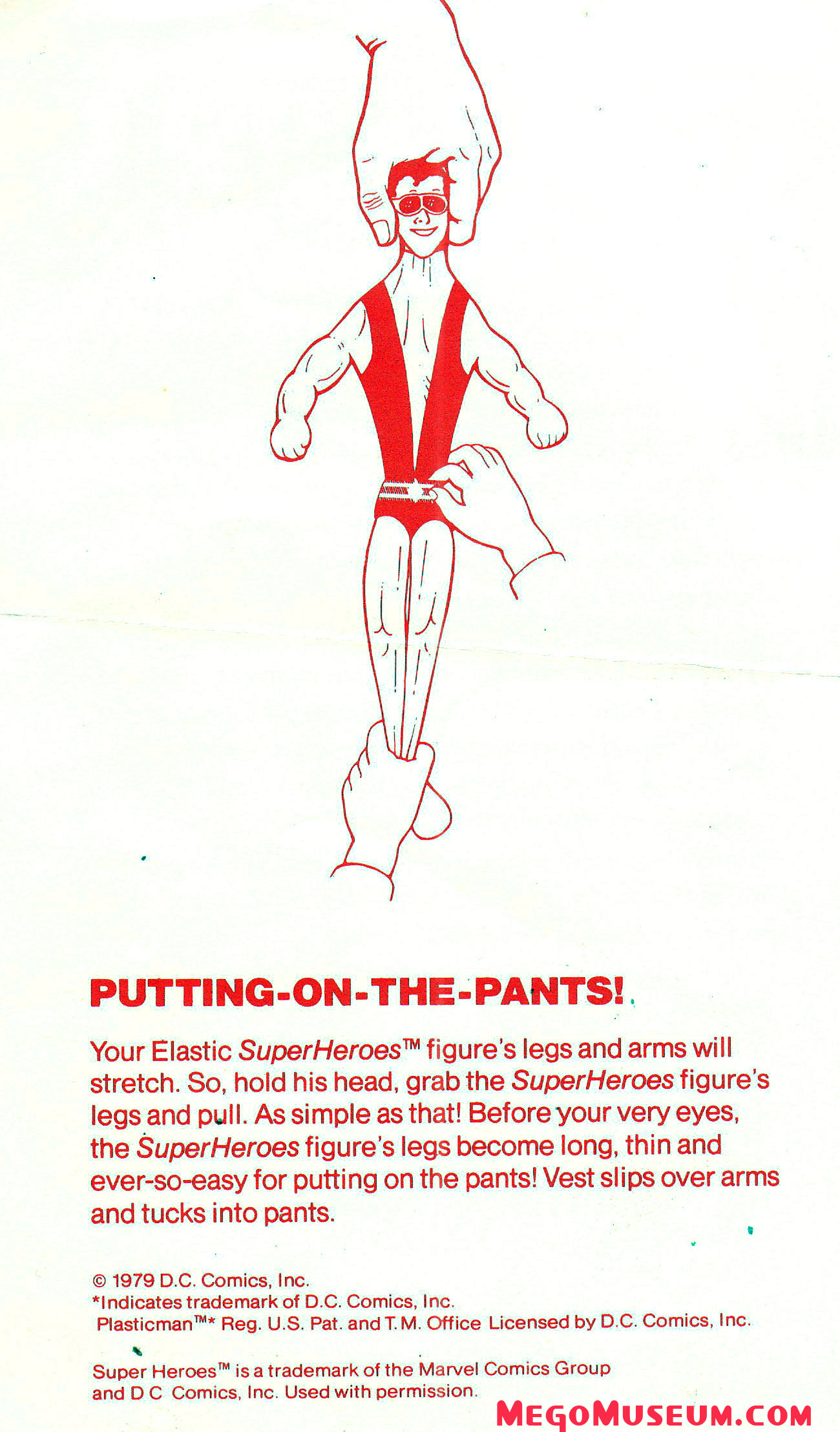Mego Elastic Plastic Man instructions.