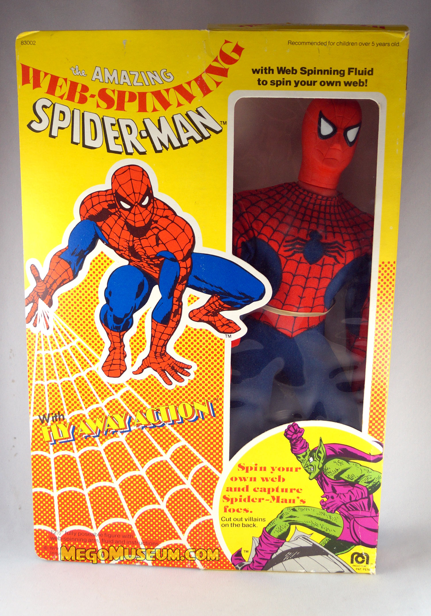 """BOX ONLY Mego WEB-SPINNING SPIDER-MAN Box for 12/"""" Action Figure"""