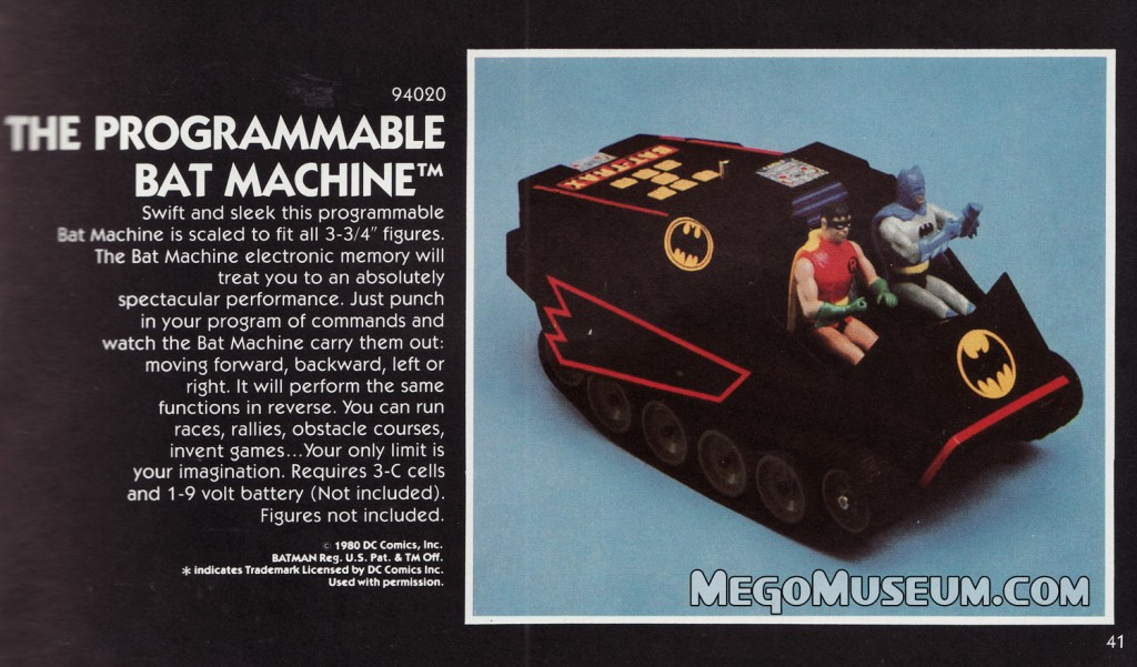 Batmachine in the second edition of the 1980 Mego Catalog