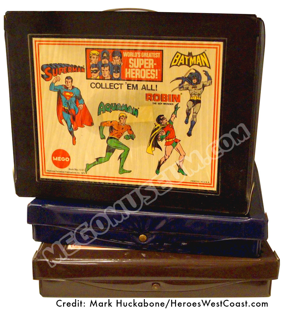 Mego World's Greatest Super Heroes 1974 Vinyl Carrying case. 3 color variations shown: Brown, Blue and Black, which is the most common.