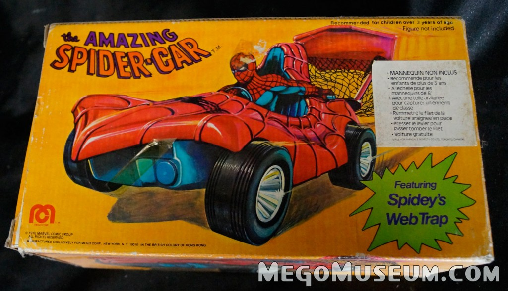 Mego Spider-Car Canadian box variation