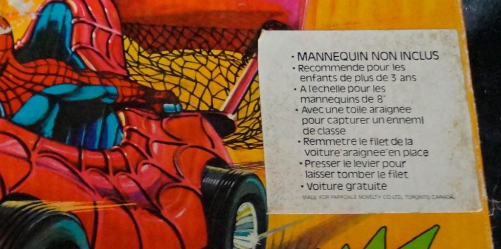Mego Spider-Car Canadian box variation