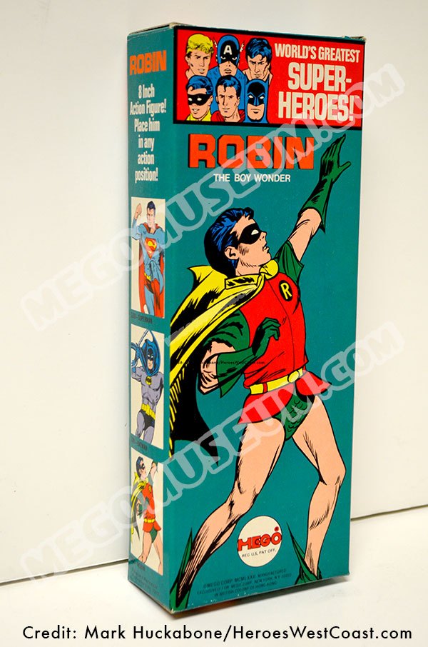 Mego Solid Box Robin. A flawless example of a Mego Solid Box Robin from the 1972 World's Greatest Super Heroes line. When Superman is on the left, you know you are looking at the front of the box.