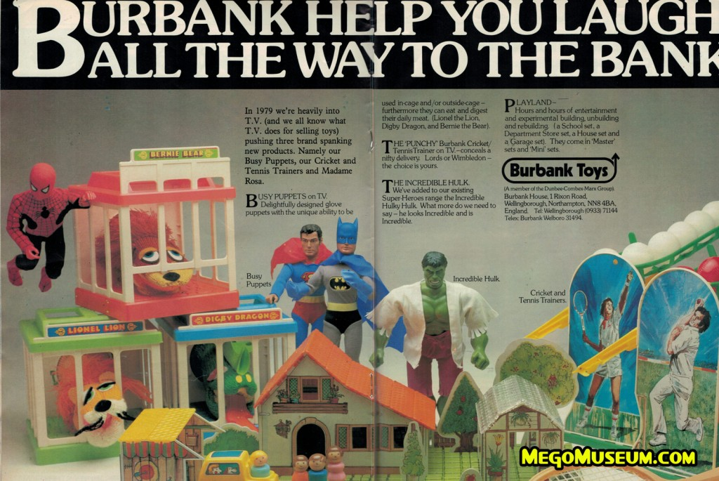 "Ad for the 12"" Mego Superheroes from the UK"