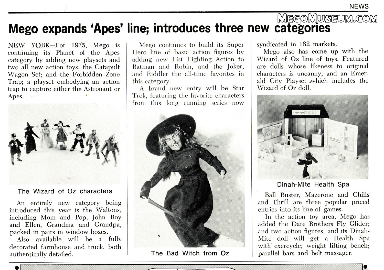 Mego Article from Toy Fair 1975 MegoMuseum