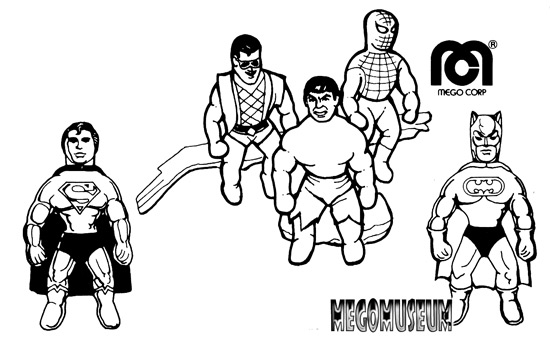 Mego reproduction line art