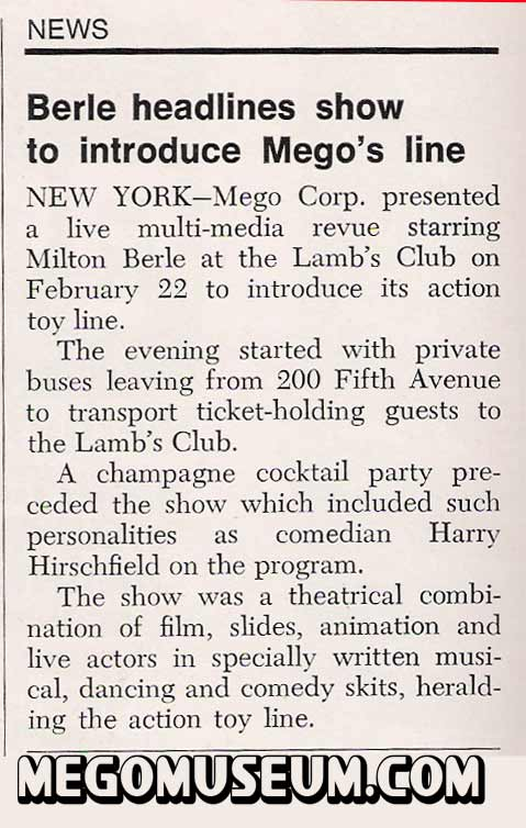 milton berle presented the 1972 Mego toy lines