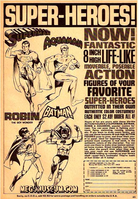 Mego superheroes ad from 1973