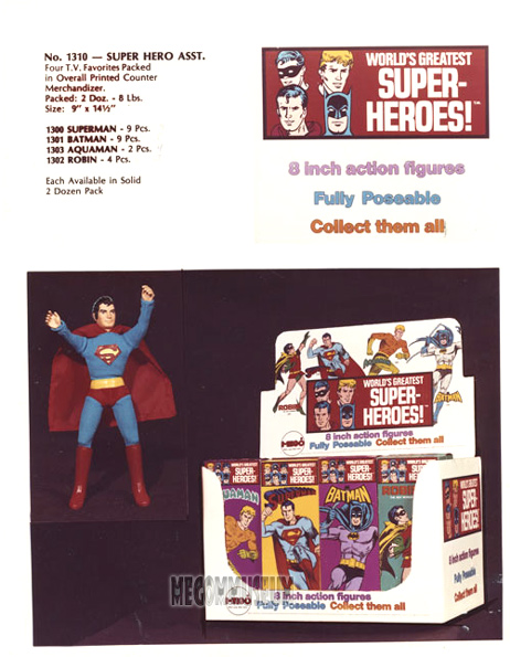Mego Sales page 1973 with prototype Superman