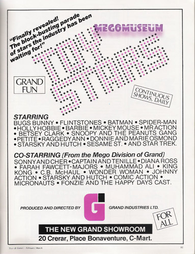 Grand Toys ad showcasing Mego products