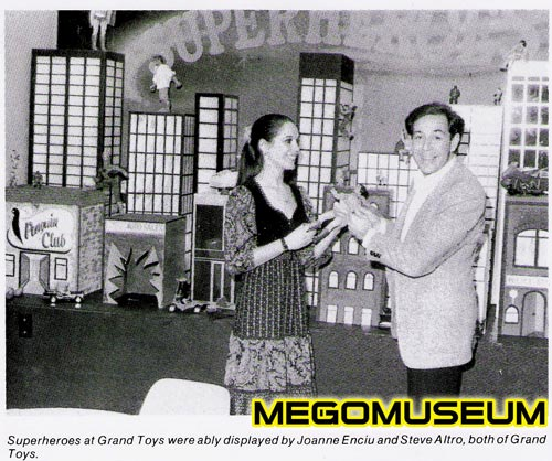 Grand Toys Showroom showcasing Mego products and Vice President Steve Altro