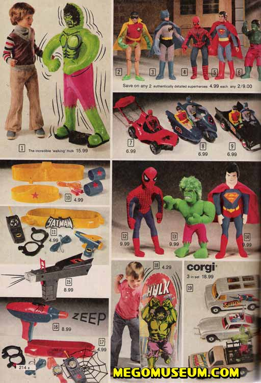1979 mego superheroes in the sears canada catalog