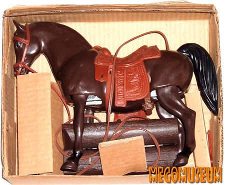 The contents of a boxed Mego Action Stallion