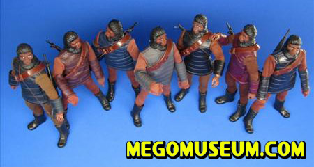 A gathering of Mego Soldier apes