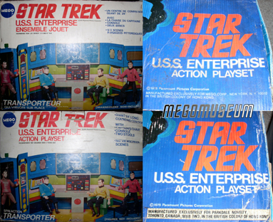Detail of the front and top of the two foreign-release Enterprise boxes.