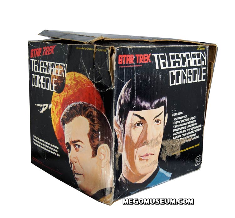 The packaging for the telescreen playset features some awesome artwrok of Kirk and Spock