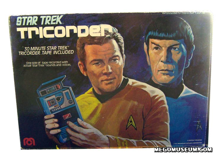 The Front of the box features the same beautiful artwork that was featured on much of the 1976 released Mego Star Trek items