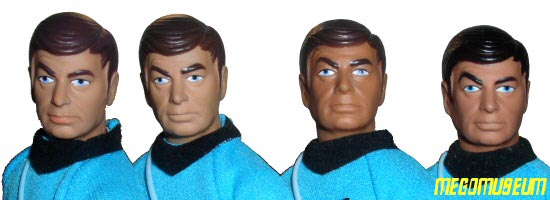 Variants of the Mego Dr McCoy head