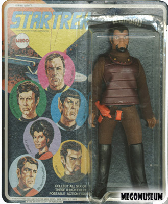 Mego Captain Kirk on a Six Face card, white lettering