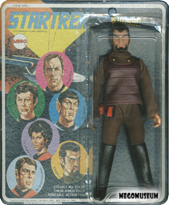 Mego Klingon on a Six Face card, yellow lettering