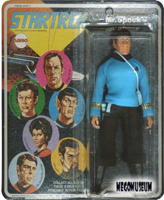 Mego Spock on a Six Face card, white lettering