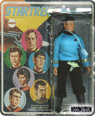 Mego Spock on a Six Face card, blue lettering