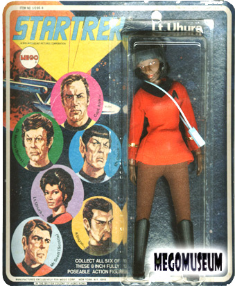 Mego Lt Uhura on a Six Face card, white lettering