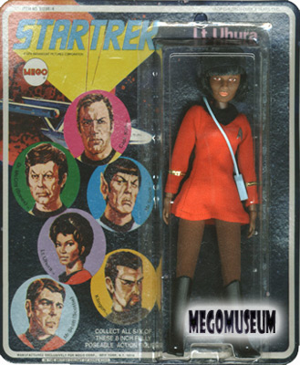 Mego Lt Uhura on a Six Face card, blue lettering