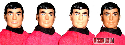 Differences of detail on Mego Scottie's heads