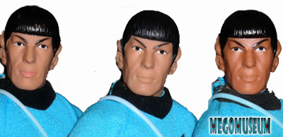 Differences of detail on Mego Spock's heads