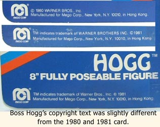Boss Hogg Copyright text gives some support to the theory he was an afterthough