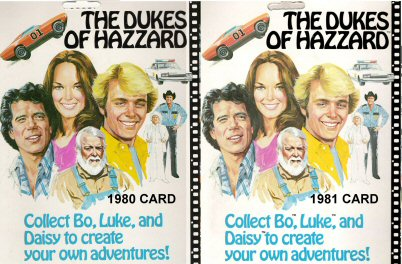 The back of a mego Dukes of Hazzard Card