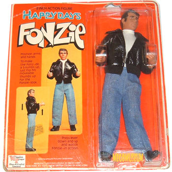 Mego Fonzie on a UK version of his card