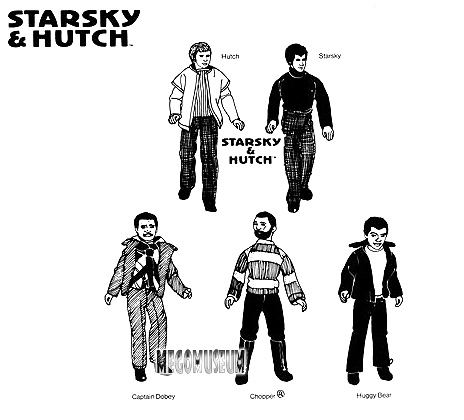 Mego Reproduction artowrk of the  Mego Starsky and Hutch Crew