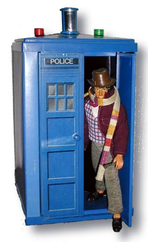 Mego Tardis utilized the same concept as the Mego Star Trek transporter