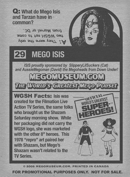 Mego Museum Isis Card