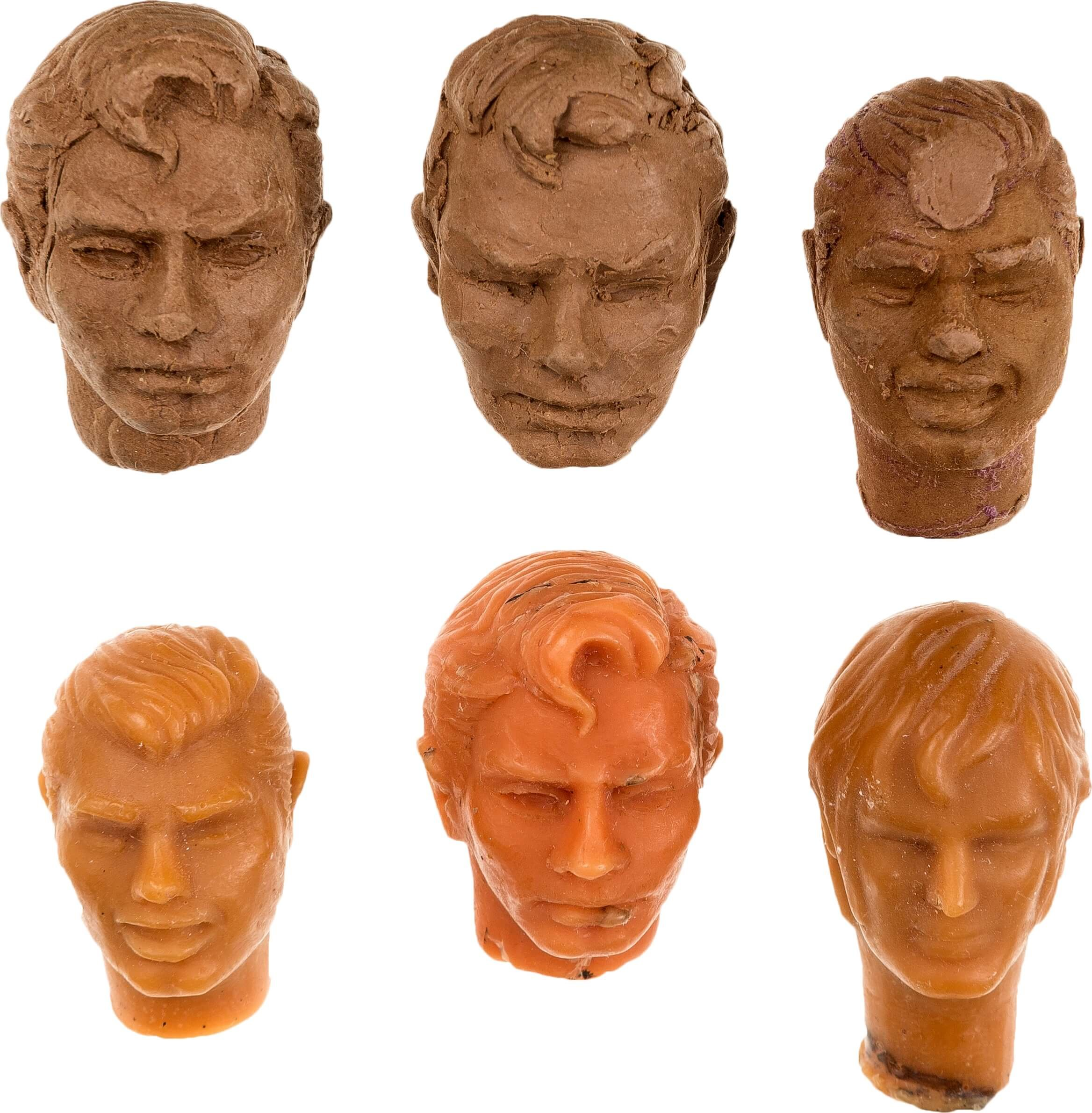 Original mego head sculpt prototype for Superman and Aquaman from the Mego World's Greatest Superheroes.
