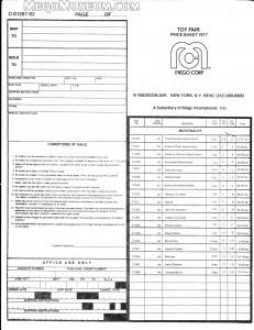 1977 Mego Order Form