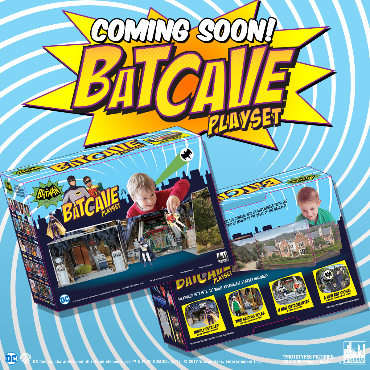 Mego Museum Exclusive! Figures Toy Co 1966 Batcave playset.